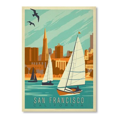 Americanflat San Francisco Sailboats by Anderson Design Group Vintage Advertisement in Blue