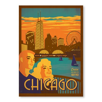 Americanflat Chicago Navy Pier by Anderson Design Group Vintage Advertisement in Orange