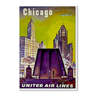 Americanflat Chicago United Airlines by Chad Hyde Vintage Advertisement Wrapped on Canvas