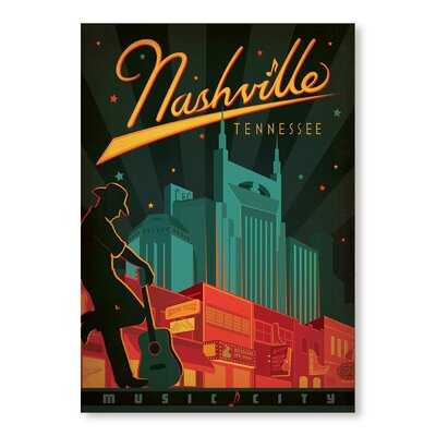 Americanflat Nashville Tennessee Vintage Advertisement Wrapped on Canvas