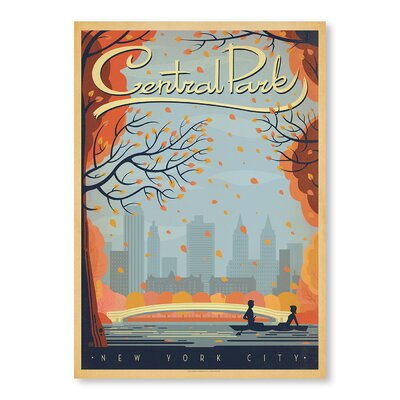 Americanflat New York City Central Park Autumn Vintage Advertisement Wrapped on Canvas