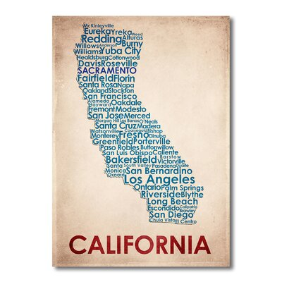 Americanflat California Typography Wrapped on Canvas