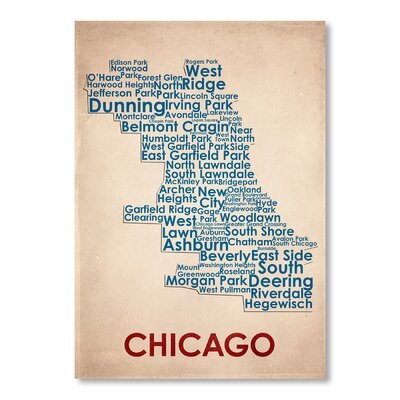 Americanflat Chicago Typography Wrapped on Canvas