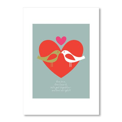 Americanflat Birds One Love by Liz Lyons Graphic Art in Red