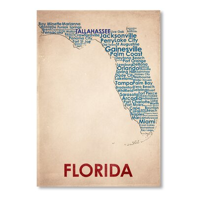 Americanflat Florida Typography Wrapped on Canvas