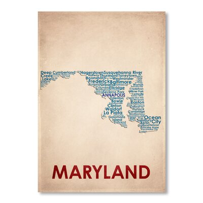 Americanflat Maryland Typography Wrapped on Canvas