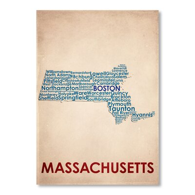 Americanflat Massachusetts Typography Wrapped on Canvas