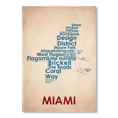 Americanflat Miami Typography Wrapped on Canvas