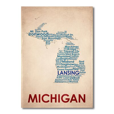 Americanflat Michigan Typography Wrapped on Canvas