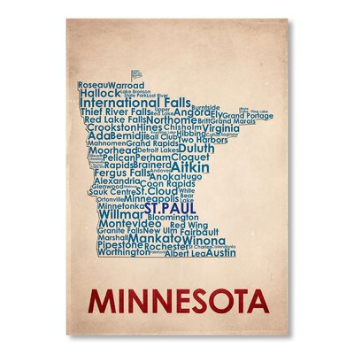 Americanflat Minnesota Typography on Canvas