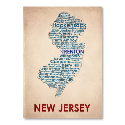 Americanflat New Jersey Typography Wrapped on Canvas