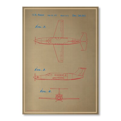 Americanflat Airplane III Blue Print Graphic Art Wrapped on Canvas