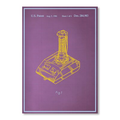Americanflat Joystick II Blue Print Image Graphic Art Wrapped on Canvas