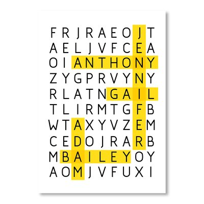 Americanflat Word Puzzle by Patricia Pino Typography Wrapped on Canvas