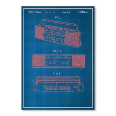 Americanflat Vintage Boombox Graphic Art in Blue