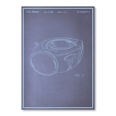 Americanflat Boom Box Blue Print Graphic Art Wrapped on Canvas