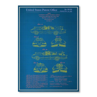 Americanflat Batmobile Blue Print Graphic Art Wrapped on Canvas