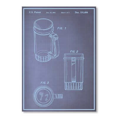 Americanflat Beer Stein I Blue Print Graphic Art Wrapped on Canvas