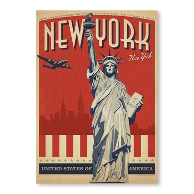 Americanflat NYC Liberty Skyline by Anderson Vintage Advertisement Wrapped on Canvas