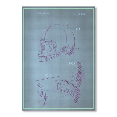 Americanflat Helmet Blue Print Graphic Art on Canvas