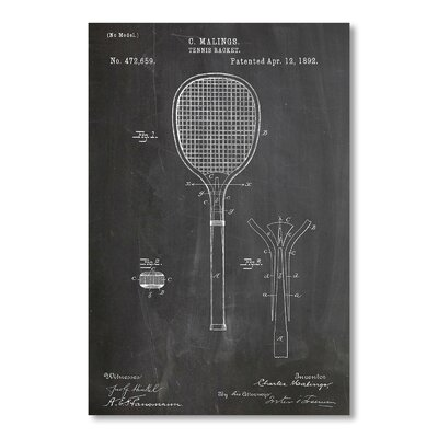 Americanflat Tennis Racket by House of Borders Graphic Art in Grey