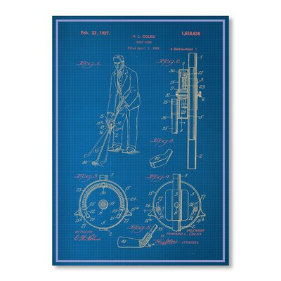 Americanflat Adjustable Golf Club Blue Print Graphic Art on Canvas