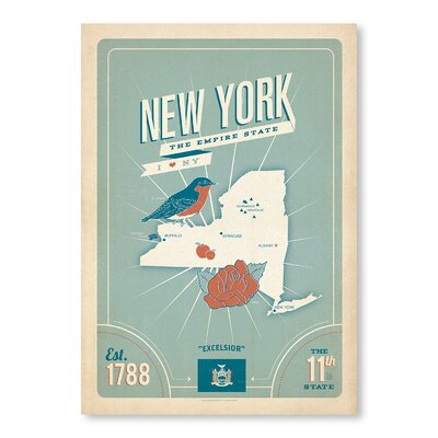 Americanflat State Pride Print New York by Anderson Design Group Vintage Advertisement Wrapped on Canvas