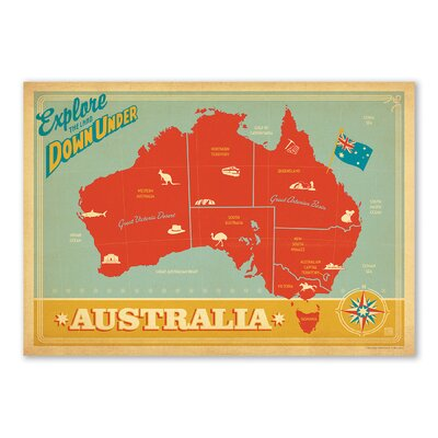 Americanflat Explore Down Under by Anderson Design Group Vintage Advertisementr in Red