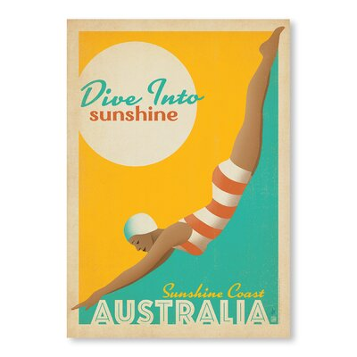 Americanflat Dive into Sunshine Australia by Anderson Design Group Vintage Advertisement Wrapped on Canvas