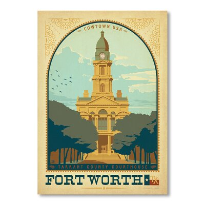 Americanflat Fort Worth by Anderson Design Group Vintage Advertisement Wrapped on Canvas