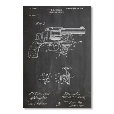 Americanflat Wesson Pistol 1898 by House of Borders Graphic Art in Grey