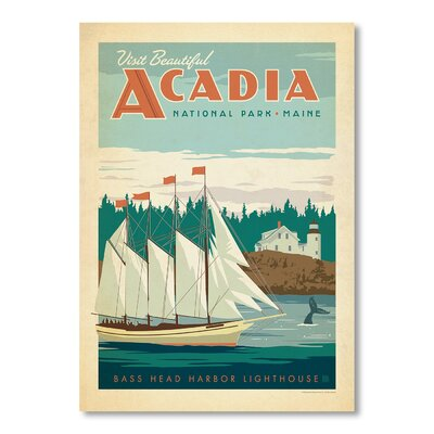 Americanflat National Park Acadia by Anderson Design Group Vintage Advertisement Wrapped on Canvas