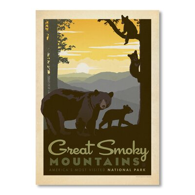 Americanflat National Park Great Smoky Mountains Bear Family by Anderson Design Group Vintage Advertisement in Brown