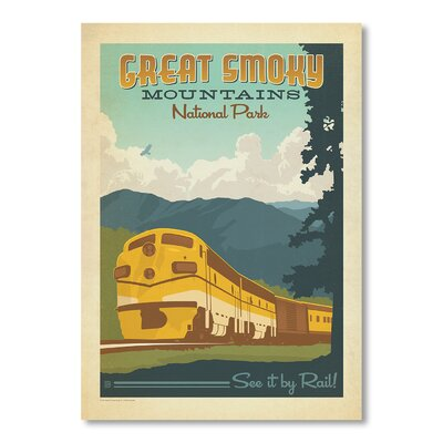 Americanflat Great Smoky Mountains National Park Train by Anderson Design Group Vintage Advertisement Wrapped on Canvas