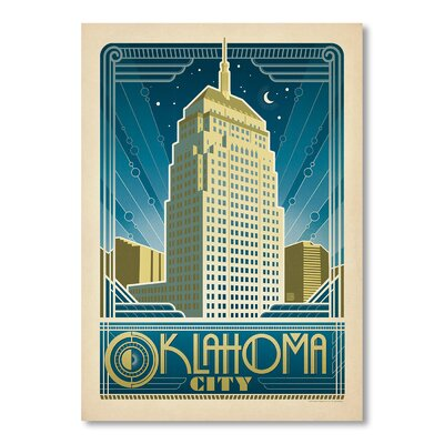 Americanflat Oklahoma City by Anderson Design Group Vintage Advertisement Wrapped on Canvas