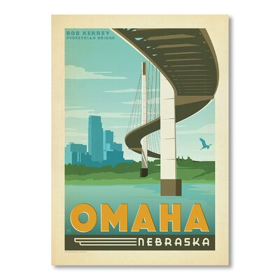 Americanflat Omaha Nebraska by Anderson Design Group Vintage Advertisement Wrapped on Canvas