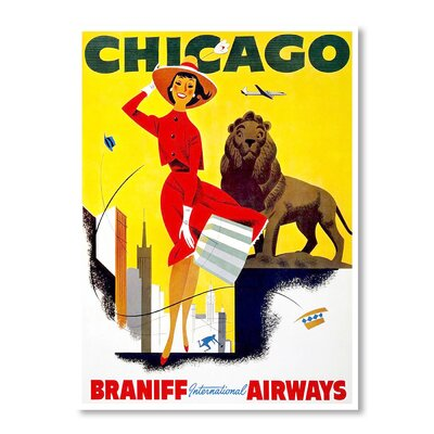 Americanflat Travel Chicago by Chad Hyde Vintage Advertisement Wrapped on Canvas