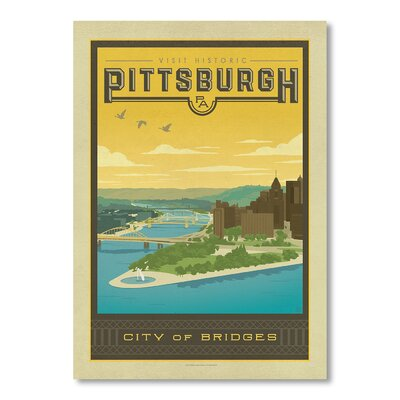 Americanflat Pittsburgh by Anderson Design Group Vintage Advertisement Wrapped on Canvas