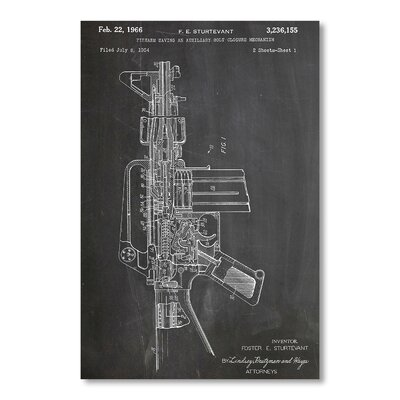 Americanflat M16 Rifle by House of Borders Graphic Art in Grey