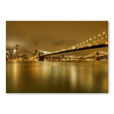 Americanflat Bridge Night 2 by Lina Kremsdorf Photographic Print in Gold