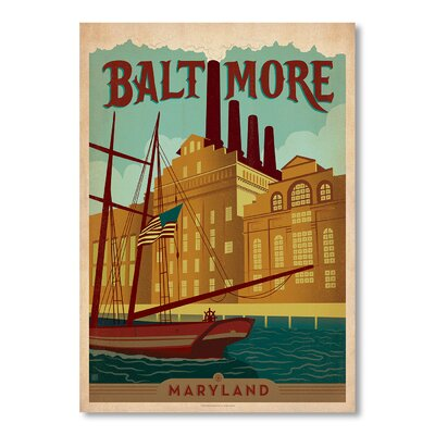 Americanflat Baltimore by Anderson Design Group Vintage Advertisement Wrapped on Canvas