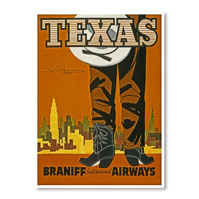 Americanflat Travel Texas by Chad Hyde Vintage Advertisement Wrapped on Canvas