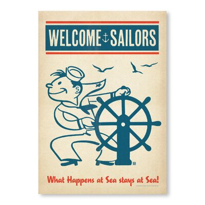 Americanflat Sailors Welcome Vintage Advertisement Wrapped on Canvas
