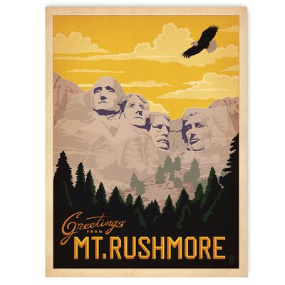 Americanflat Mt. Rushmore by Anderson Design Group Vintage Advertisement Wrapped on Canvas