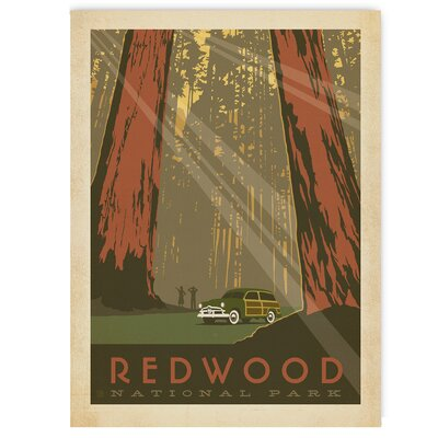 Americanflat Redwood National Park by Anderson Design Group Vintage Advertisement Wrapped on Canvas
