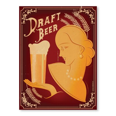 Americanflat Draft Beer by Diego Patino Vintage Advertisement Wrapped on Canvas