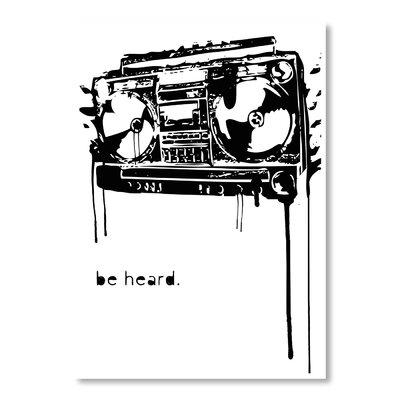 Americanflat Be Heard by Matthew Schnepf Graphic Art in Black
