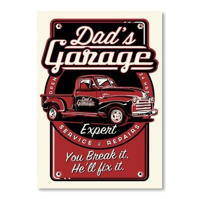 Americanflat Dad's Garage by Matthew Schnepf Vintage Advertisement in Red