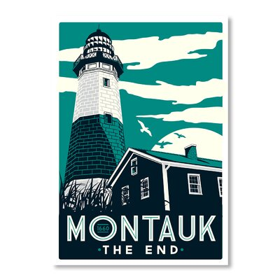 Americanflat Montauk Lighthouse by Matthew Schnepf Vintage Advertisement on Canvas