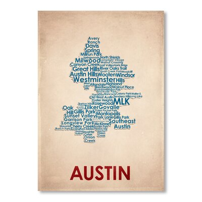 Americanflat Austin Typography Wrapped on Canvas